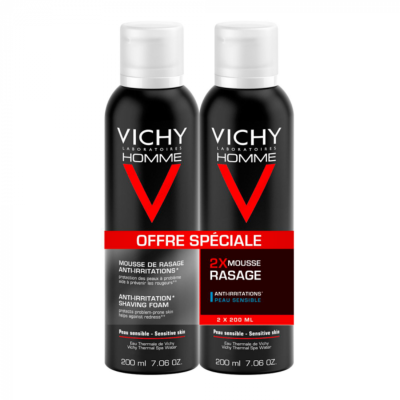 VICHY HOMME MOUSSE A RASER ANTI-IRRITATION 2X200ML
